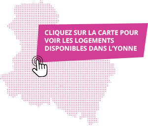 Carte de l'Yonne des offres de logement pour jeunes actifs par Domanys